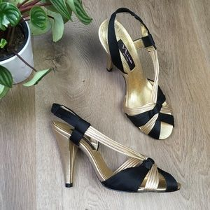 NINA Gold & Black Slingback Heels Sandals 7.5
